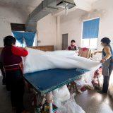 ふとんの大きさになった真綿@桐郷の真綿工場